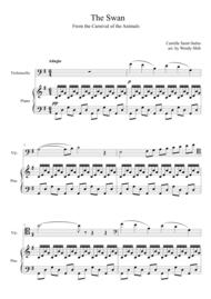 Saint-Saens The Swan Cello and Piano Sheet Music by Camille Saint-Saens