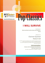 I Will Survive - Gloria Gaynor - Ballad & Disco - Clarinet Quintet Sheet Music by Gloria Gaynor
