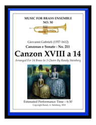 Canzon XVIII a 14 - No. 211 Sheet Music by Giovanni Gabrieli