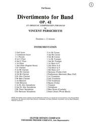 Divertimento For Band Sheet Music by Vincent Persichetti
