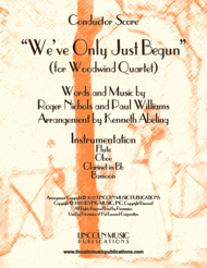 """""""We've Only Just Begun"""" (for Woodwind Quartet) Sheet Music by The Carpenters"""