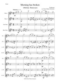 Morning has broken (Bunessan) for flute quartet Sheet Music by Traditional
