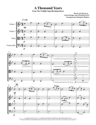 A Thousand Years String Quartet From The Twilight Saga Sheet Music by Christina Perri