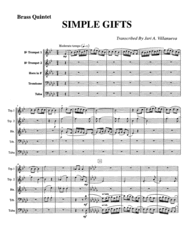 Simple Gifts Shaker Hymn for Brass Quintet Sheet Music by Joseph Brackett