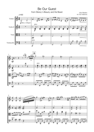 Be Our Guest from Disney's Beauty and the Beast (string quartet) Sheet Music by Alan Menken