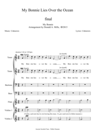 My Bonnie Lies Over the Ocean Sheet Music by Composer and Lyricist are unknown