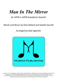 Man In The Mirror - for Saxophone Quartet Sheet Music by Michael Jackson