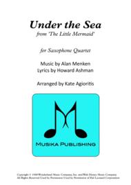 Under The Sea - for Saxophone Quartet Sheet Music by Alan Menken