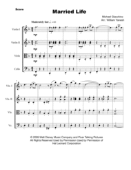 Married Life (from UP) for String Quartet Sheet Music by Michael Giacchino