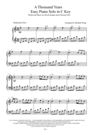 A Thousand Years - Easy Piano Solo in C Key Sheet Music by Christina Perri