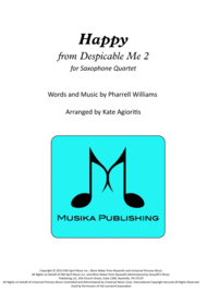 Happy (from Despicable Me) - for Saxophone Quartet Sheet Music by Pharrell