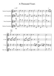 A Thousand Years for Saxophone Quartet SATB Sheet Music by Christina Perri