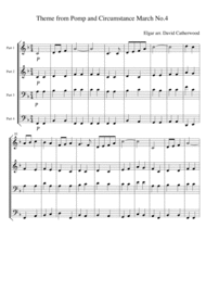 Theme from Pomp and Circumstance  March No. 4 by Elgar arranged David Catherwood Sheet Music by Edward Elgar