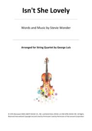Isn't She Lovely for String Quartet Sheet Music by Stevie Wonder