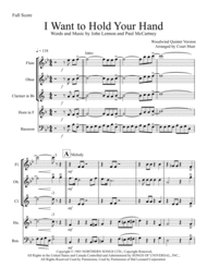 I Want To Hold Your Hand - Woodwind Quintet Sheet Music by The Beatles