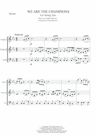 QUEEN We Are The Champions String Trio Sheet Music by Queen