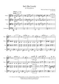 Stevie Wonder: Isn't She Lovely - String Quartet Sheet Music by Stevie Wonder