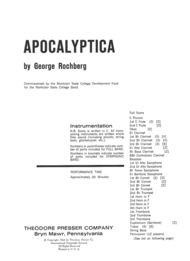 Apocalyptica Sheet Music by George Rochberg