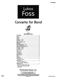 Concerto For Band Sheet Music by Lukas Foss