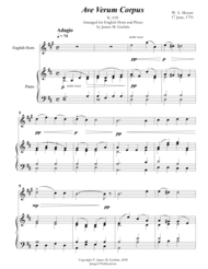 Mozart: Ave Verum Corpus for English Horn & Piano Sheet Music by Wolfgang Amadeus Mozart