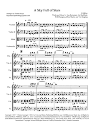 A Sky Full Of Stars - String Quartet Sheet Music by Coldplay