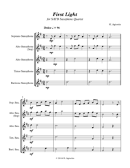 First Light - for Saxophone Quartet Sheet Music by Kate Agioritis