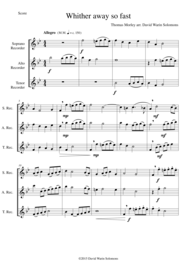 Whither away so fast for recorder trio (soprano
