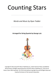 Counting Stars for String Quartet Sheet Music by OneRepublic
