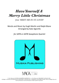 Have Yourself A Merry Little Christmas - for Saxophone Quartet Sheet Music by Frank Sinatra