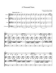 A Thousand Years - String Quartet Sheet Music by Christina Perri
