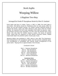 Weeping Willow (Saxophones) Sheet Music by Scott Joplin
