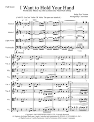 I Want To Hold Your Hand for String Trio Sheet Music by The Beatles