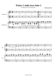 Walzer 2 from Jazz Suite 2 for piano 4 hands Sheet Music by D.Shostakovich