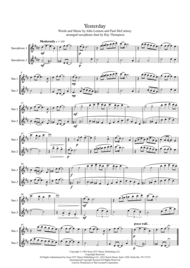 Beatles: Yesterday - saxophone duet Sheet Music by The Beatles