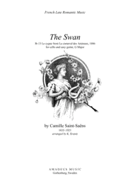 The Swan (G Major) for cello and easy guitar Sheet Music by C. Saint-Saens (1835-1921)