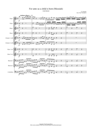 Handel: For unto us a Child is born (Messiah) - wind dectet Sheet Music by George Frideric Handel