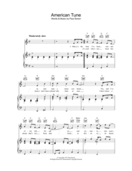American Tune Sheet Music by Paul Simon