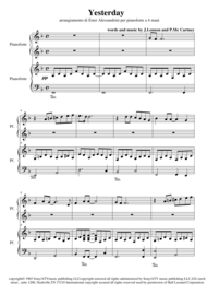 Yesterday (piano 4 hands) Sheet Music by The Beatles