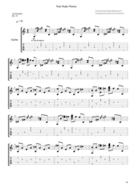 Twin Peaks Theme for Guitar Sheet Music by Angelo Badalamenti