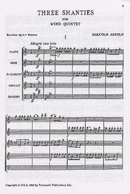Three Shanties For Wind Quintet Op.4 Sheet Music by Malcolm Arnold