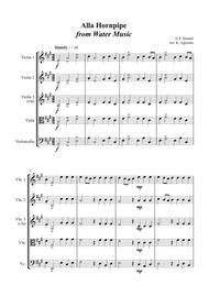 Alla Hornpipe from Handel's Water Music - for String Quartet Sheet Music by George Frideric Handel
